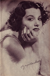 Autographed portrait of Olympe Bradna from the pages of Cinegram 60 (1938)